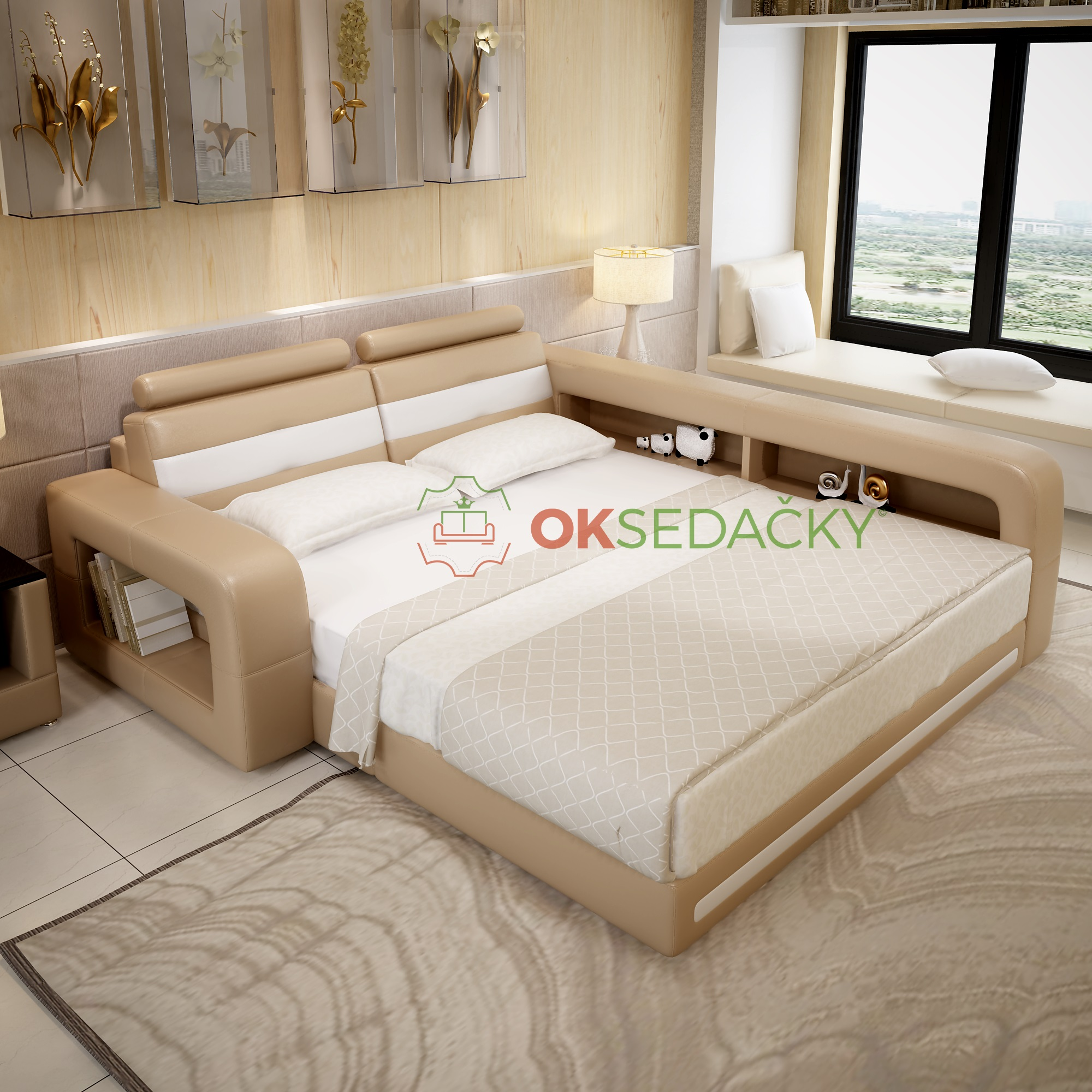 Kožená posteľ Castilla