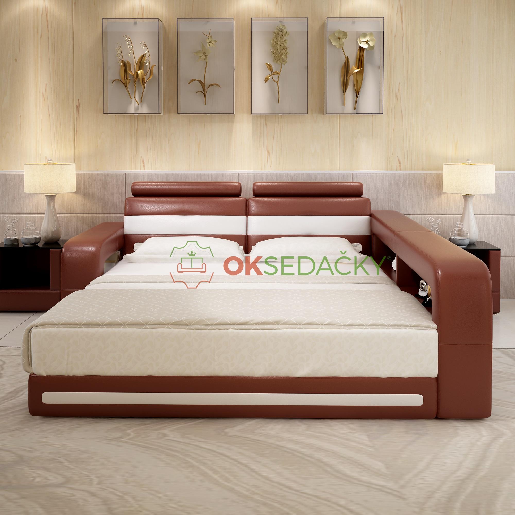57424b42b5d0 Kožená posteľ Castilla - OK Sedačky