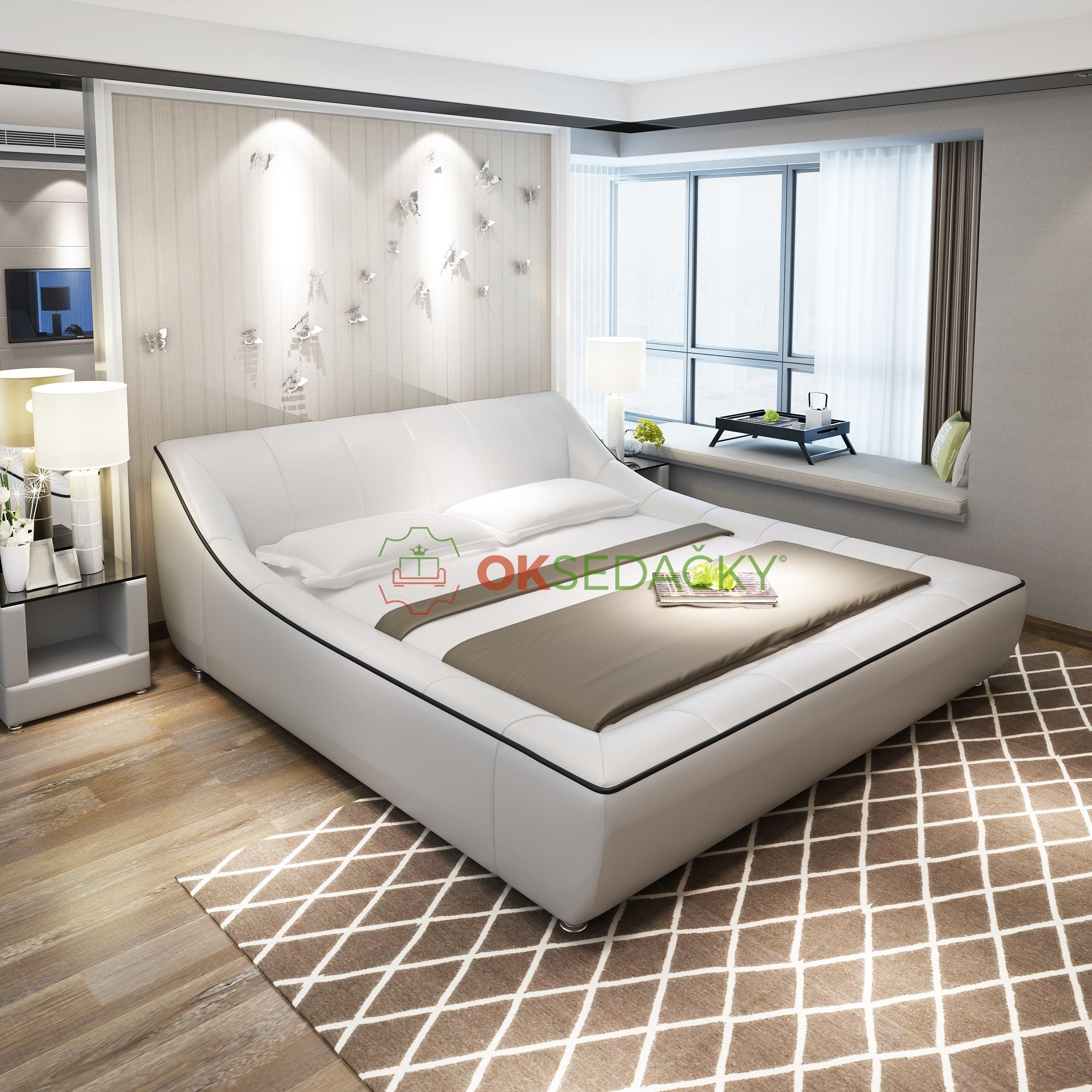 3c15e78d6a66 Kožená posteľ Charlotte - OK Sedačky