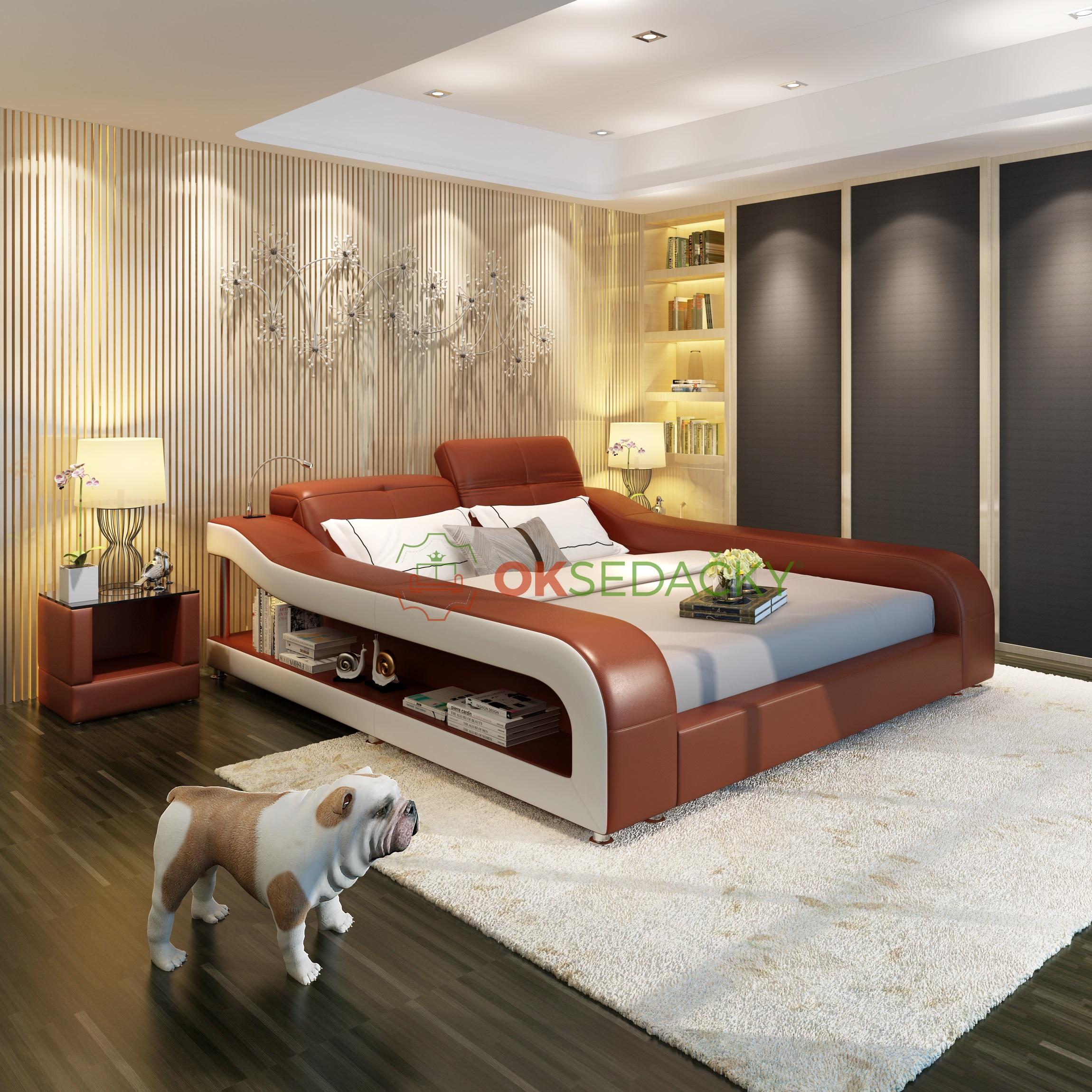 Kožená posteľ Katrina