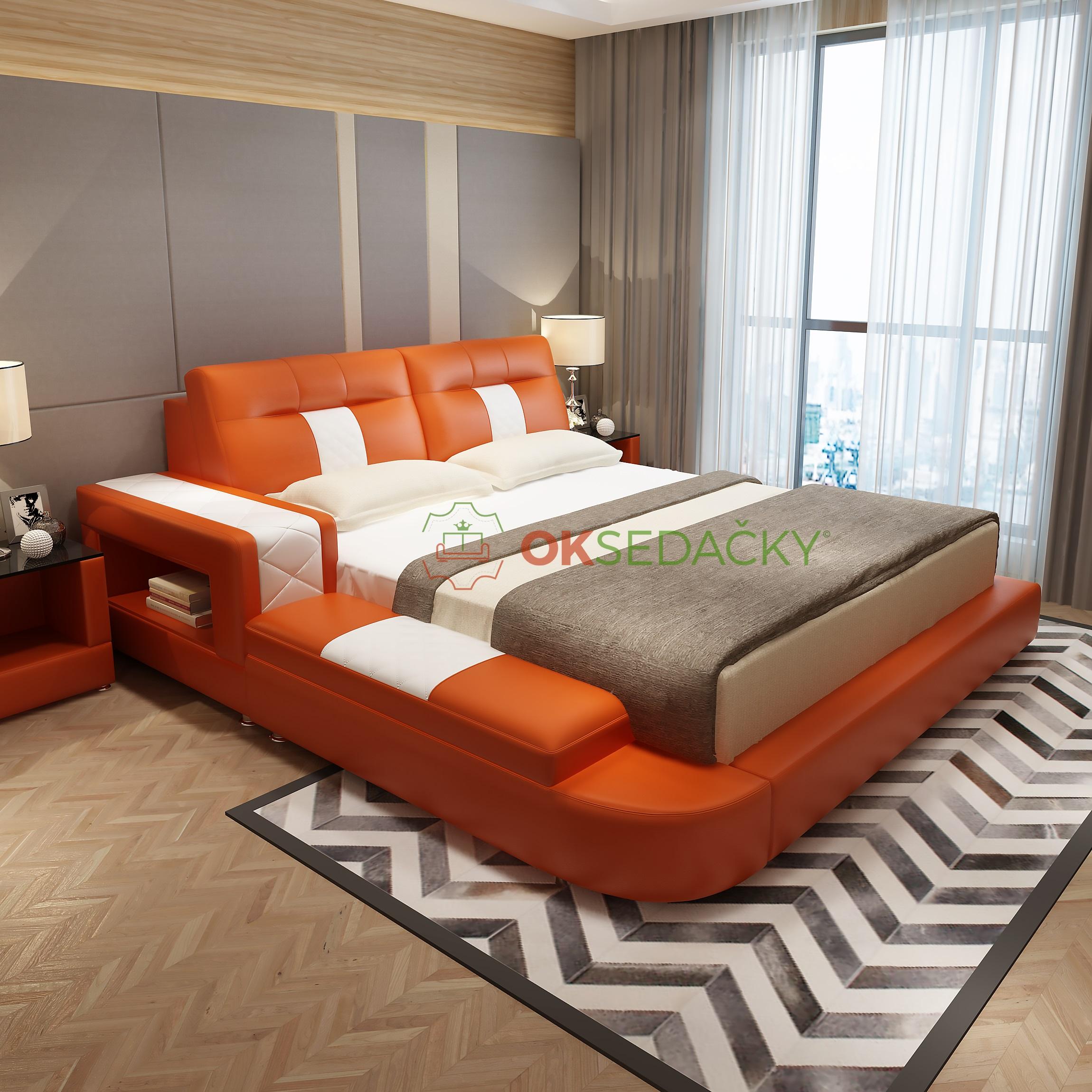 Kožená posteľ Kornelia