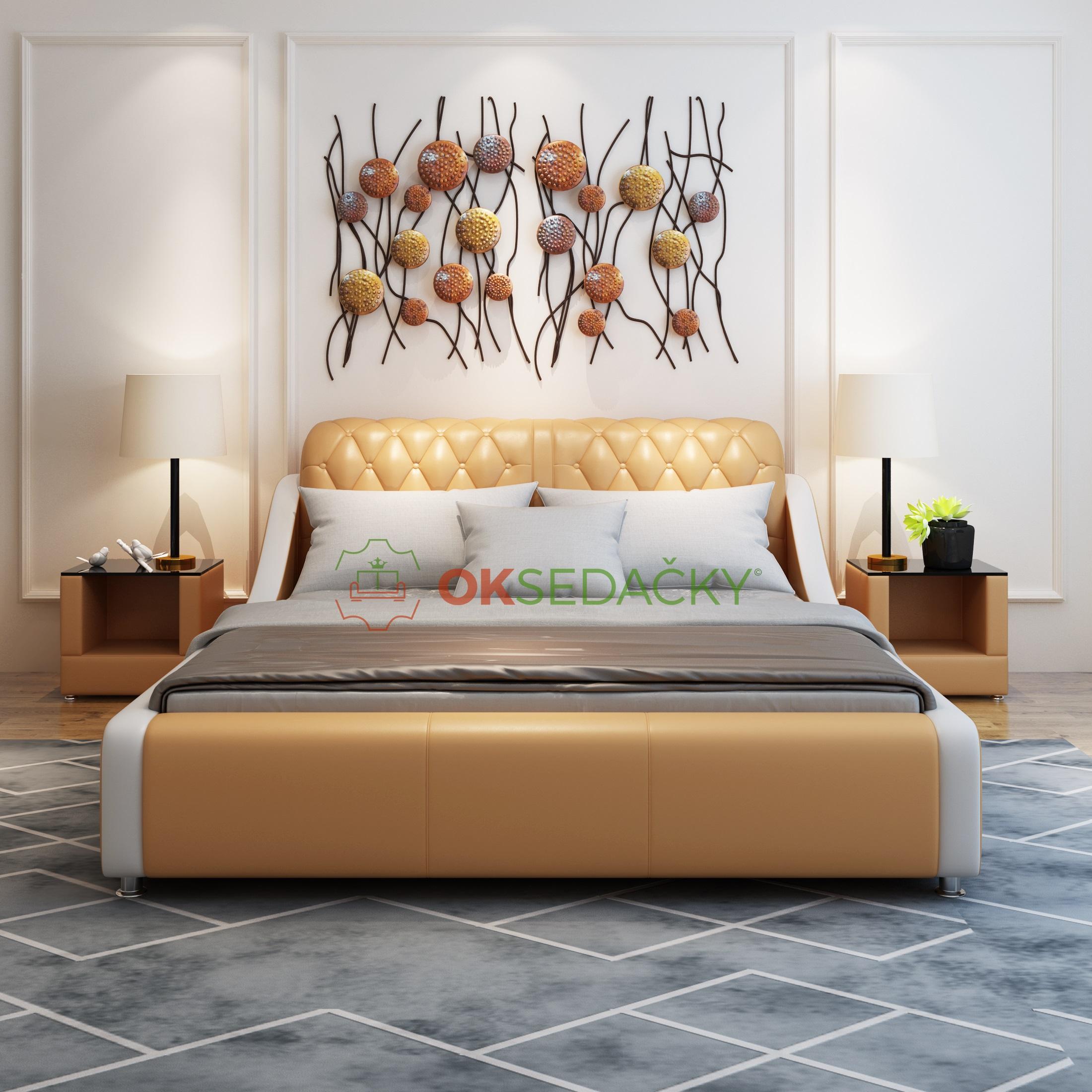 Kožená posteľ Sofia